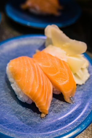 Salmon Sushi, Japanese cusine Stock Photo