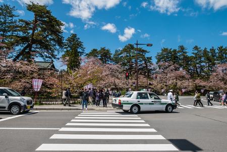 male likeness: Aomori, Japan - April 30, 2016: Street of Hirosaki city near to Hirosaki castle in Aomori, Japan