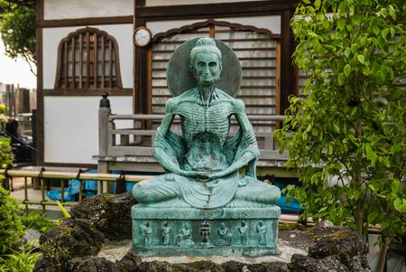 Buddha statue in Japanese temple in Kawagoe town, Japan
