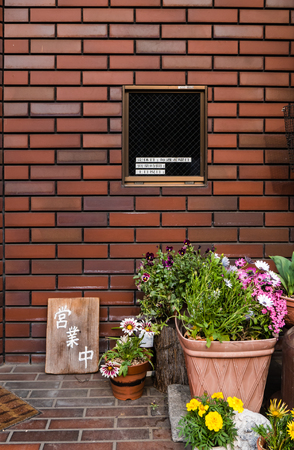 screen partition: Japanese style window with pot of flowers put in the front.