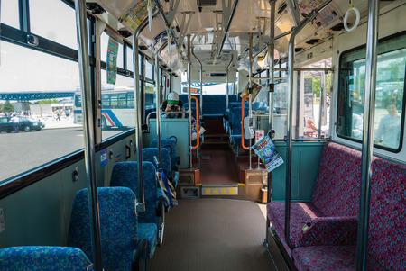 interior spaces: Ibaraki, Japan - May 1, 2016: Interior of the Ibaraki Kotsu bus running between Katsuta station and Hitachi Seaside Park in Ibaraki, Japan. Hitachi Seaside Park is a spacious park in Ibaraki Prefecture, Japan featuring a variety of green spaces and season