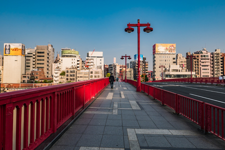 Tokyo, Japan - May 1, 2016: Asakusa city in  the morning. Asakusa is a district in Taito, Tokyo, Japan, famous for the Senso-ji, a Buddhist temple dedicated to the bodhisattva Kannon. There are several other temples in Asakusa, as well as various festival