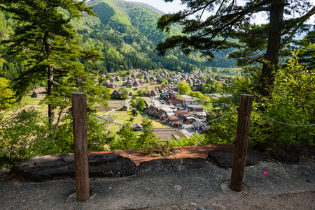 gassho zukuri: Shirakawa-go, Japan - May 2, 2016: Historical village of Shirakawa-go. Shirakawa-go is one of Japans UNESCO World Heritage Sites located in Gifu Prefecture, Japan. Editorial
