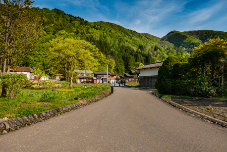 Shirakawa-go, Japan - May 2, 2016: Historical village of Shirakawa-go. Shirakawa-go is one of Japans UNESCO World Heritage Sites located in Gifu Prefecture, Japan. Editorial