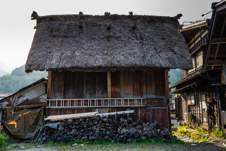 gassho zukuri: Shirakawa-go, Japan - May 2, 2016: Traditional gassho-zukuri house in Shirakawa-go. Shirakawa-go is one of Japans UNESCO World Heritage Sites located in Gifu Prefecture, Japan.
