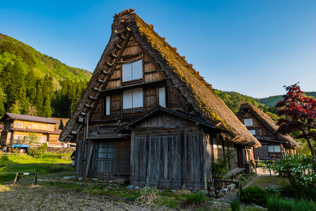 gassho zukuri: Shirakawa-go, Japan - May 2, 2016: Traditional gassho-zukuri house in Shirakawa-go. Shirakawa-go is one of Japans UNESCO World Heritage Sites located in Gifu Prefecture, Japan.