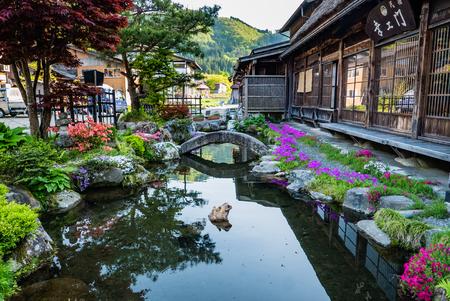 shirakawa go: Shirakawa-go, Japan - May 2, 2016: Beautiful garden in Historical village of Shirakawa-go. Shirakawa-go is one of Japans UNESCO World Heritage Sites located in Gifu Prefecture, Japan.