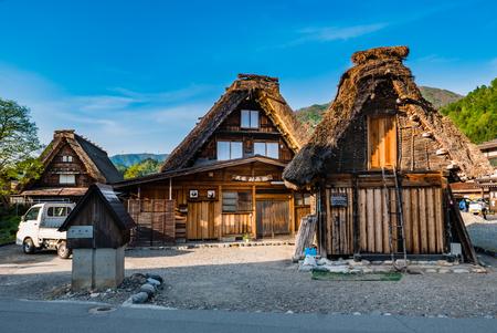 shirakawa go: Shirakawa-go, Japan - May 2, 2016: Several traditional gassho-zukuri houses in Shirakawa-go. Shirakawa-go is one of Japans UNESCO World Heritage Sites located in Gifu Prefecture, Japan.