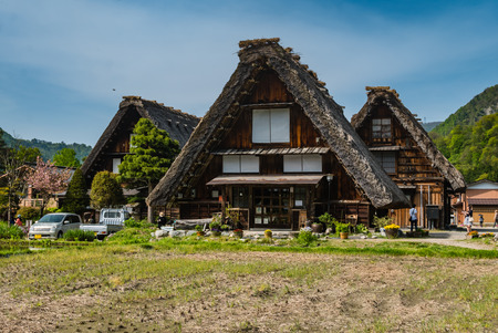 gassho zukuri: Shirakawa-go, Japan - May 2, 2016: Several traditional gassho-zukuri houses in Shirakawa-go. Shirakawa-go is one of Japans UNESCO World Heritage Sites located in Gifu Prefecture, Japan.