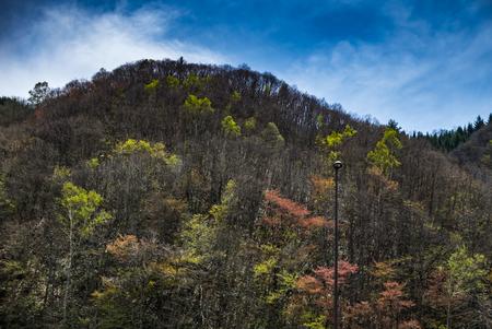 mountainous: Lanscape of mountainous Hida region of Gifu Prefecture, Japan. Stock Photo