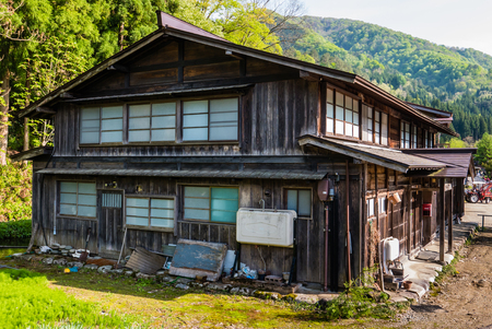 gassho zukuri: Shirakawa-go, Japan - May 2, 2016: Old wooden house in Shirakawa-go. Shirakawa-go is one of Japans UNESCO World Heritage Sites located in Gifu Prefecture, Japan.