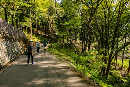 Shirakawa-go, Japan - May 2, 2016: Tourists visiting Shirakawa-go. Shirakawa-go is one of Japans UNESCO World Heritage Sites located in Gifu Prefecture, Japan.