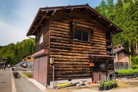 gassho zukuri: Shirakawa-go, Japan - May 2, 2016: Old wooden house in Shirakawa-go. Shirakawa-go is one of Japans UNESCO World Heritage Sites located in Gifu Prefecture, Japan.