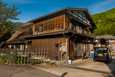 Shirakawa-go, Japan - May 2, 2016: Old wooden house in Shirakawa-go. Shirakawa-go is one of Japans UNESCO World Heritage Sites located in Gifu Prefecture, Japan.