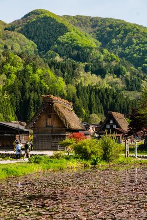 gassho zukuri: Shirakawa-go, Japan - May 2, 2016: Historical village of Shirakawa-go. Shirakawa-go is one of Japans UNESCO World Heritage Sites located in Gifu Prefecture, Japan. Editorial