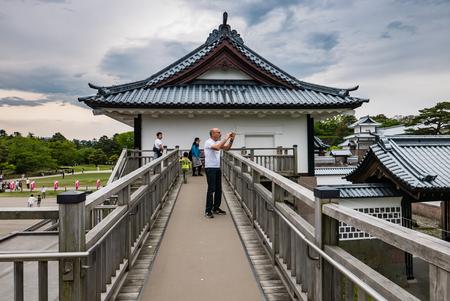 Kanazawa, Japan - May 3, 2016: Tourists visitingKanazawa castle. Kanazawa Castle is a large, well-restored castle in Kanazawa, Ishikawa Prefecture, Japan. Editorial
