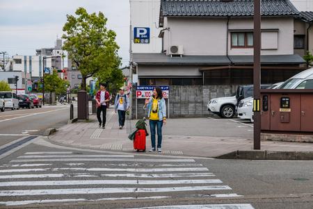 hokuriku: Kanazawa, Japan - May 3, 2016:  Tourists in Kanawaza city. Kanazawa city is the biggest city in the Hokuriku region, Japan has a population of  450,000