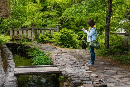 gassho zukuri: Shirakawa-go, Japan - May 3, 2016: Tourist taking picture of the nature in Shirakawa-go. Shirakawa-go is one of Japans UNESCO World Heritage Sites located in Gifu Prefecture, Japan.