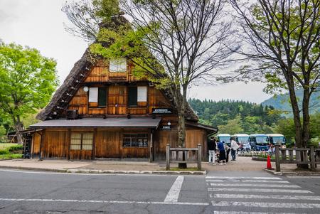 gassho zukuri: Shirakawa-go, Japan - May 3, 2016: Shirakawa-go tourist information center in Shirakawa-go. Shirakawa-go is one of Japans UNESCO World Heritage Sites located in Gifu Prefecture, Japan.