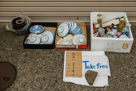 hokuriku: Kanazawa, Japan - May 3, 2016: Take free japanese style pottery on the street in Kanazawa. Kanazawa city is the biggest city in the Hokuriku region, Japan has a population of  450,000