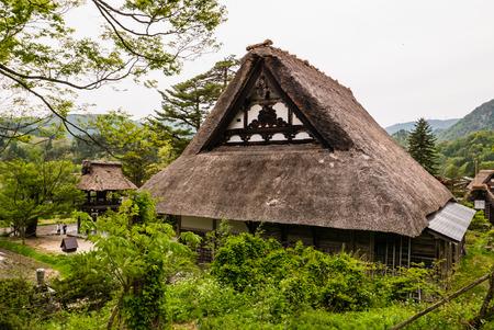 gassho zukuri: Detail of Traditional gassho-zukuri houses roof in Shirakawago. Shirakawago is one of Japans UNESCO World Heritage Sites located in Gifu Prefecture, Japan. Editorial