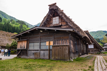 gassho zukuri: Shirakawa-go, Japan - May 3, 2016: Traditional gassho-zukuri house in Shirakawa-go. Shirakawa-go is one of Japans UNESCO World Heritage Sites located in Gifu Prefecture, Japan.