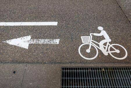 bikeway: Bicycle sign on a bikeway in Kanazawa, Japan