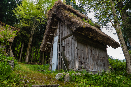 Shirakawa-go, Japan - May 3, 2016: Traditional gassho-zukuri house in Shirakawa-go. Shirakawa-go is one of Japans UNESCO World Heritage Sites located in Gifu Prefecture, Japan.