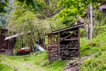 Shirakawa-go, Japan - May 3, 2016: Farmer storage house in Shirakawa-go. Shirakawa-go is one of Japans UNESCO World Heritage Sites located in Gifu Prefecture, Japan.