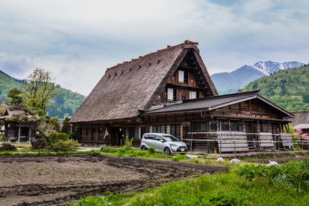 gassho zukuri: Shirakawa-go, Japan - May 3, 2016: Historical village of Shirakawa-go. Shirakawa-go is one of Japans UNESCO World Heritage Sites located in Gifu Prefecture, Japan. Editorial