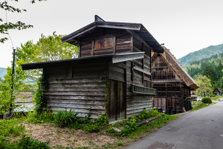 Shirakawa-go, Japan - May 3, 2016: Old wooden house in Shirakawa-go. Shirakawa-go is one of Japans UNESCO World Heritage Sites located in Gifu Prefecture, Japan. Editorial