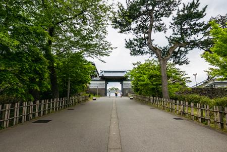 Kanazawa, Japan - May 3, 2016: Entrance of Kanazawa castle. Kanazawa Castle is a large, well-restored castle in Kanazawa, Ishikawa Prefecture, Japan.