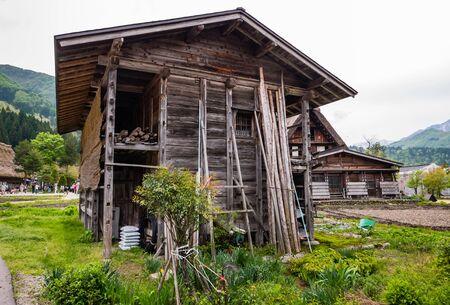 gassho zukuri: Shirakawa-go, Japan - May 3, 2016: Farmer storage house in Shirakawa-go. Shirakawa-go is one of Japans UNESCO World Heritage Sites located in Gifu Prefecture, Japan.