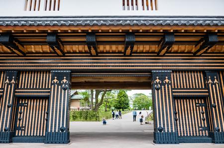 Kanazawa, Japan - May 3, 2016: Main entrance of Kanazawa castle, Japan Editorial