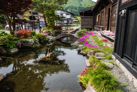 shirakawa go: Shirakawa-go, Japan - May 3, 2016: Beautiful garden in Historical village of Shirakawa-go. Shirakawa-go is one of Japans UNESCO World Heritage Sites located in Gifu Prefecture, Japan.