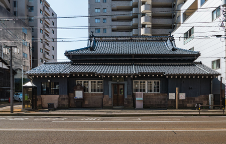 hokuriku: Kanazawa, Japan - May 4, 2016:  Old building in Kanawaza city. Kanazawa city is the biggest city in the Hokuriku region, Japan has a population of  450,000 Editorial