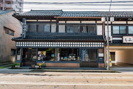 hokuriku: Kanazawa, Japan - May 4, 2016: Old building in Kanawaza city. Kanazawa city is the biggest city in the Hokuriku region, Japan has a population of  450,000