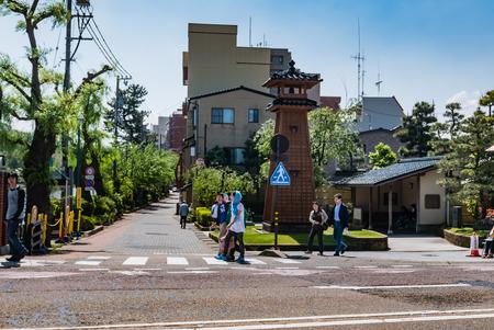 hokuriku: Kanazawa, Japan - May 4, 2016:  Kanawaza city. Kanazawa city is the biggest city in the Hokuriku region, Japan has a population of  450,000 Editorial