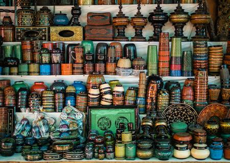 Lacquerware souvenir selling at Mani Sithu Market in Nyaung-U village, Bagan, Myanmar (Burma)