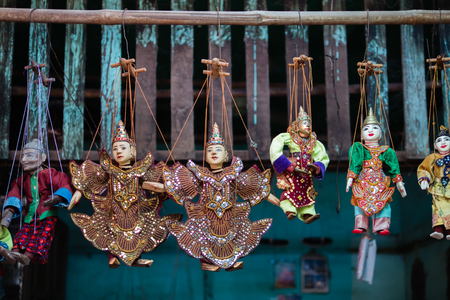 Burmese puppets on sale at Mani Sithu Market in Nyaung-U village, Bagan, Myanmar (Burma)