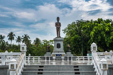 Koh Phangan, Thailand - May 5, 2017: King Rama V Monument at Thong Sala, Koh Phangan, Thailand on May 5, 2017.