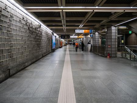 Seoul, South Korea - October 16, 2017: Interior of Gwanghwamun subway station at night in Seoul, South Korea.