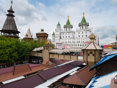 Moscow, Russia - June 10, 2018: View from Roof top of restaurant at Izmailovsky Kremlin in Moscow, Russia
