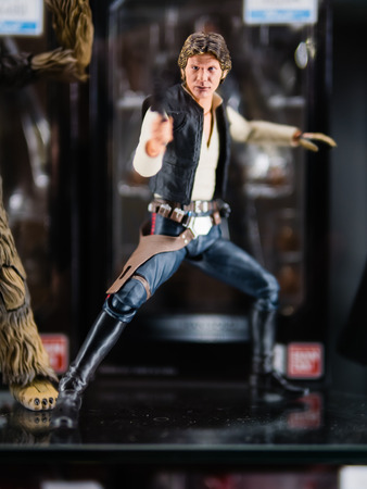Tokyo, Japan - October 30, 2018: Close up of Bandai S.H.Figuarts Star Wars Han Solo (A NEW HOPE) on display shelf at Yamashiroya store in Ueno, Tokyo, Japan. It is an action figure series S.H.Figuarts based on base on famous Star Wars 's characters.