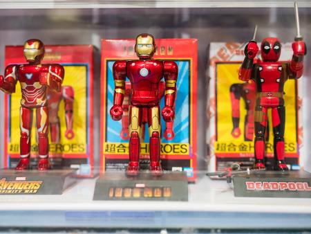 Tokyo, Japan - October 30, 2018: Close up of Iron man figure on display shelf at Yamashiroya store in Ueno, Tokyo, Japan.
