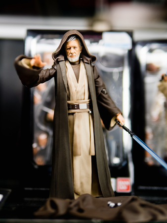 Tokyo, Japan - October 30, 2018: Close up of S. H. Figuarts Star Wars (STAR WARS) Ben Kenobi (A New Hope) on display shelf at Yamashiroya store in Ueno, Tokyo, Japan. It is an action figure series S.H.Figuarts based on base on famous Star Wars 's charac