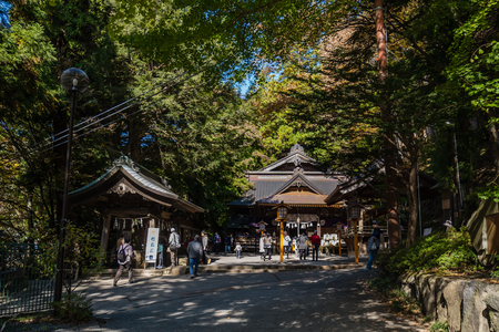 Kawaguchi, Japan - November 1, 2018: Arakura Sengen Shrine in Fujiyoshida, Yamanashi Prefecture near to Chureito Pagoda, It was built as a peace memorial in 1963