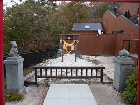 Kawaguchi, Japan - November 1, 2018: Usagi shrine at Tenjo-Yama Park at Mount Kachi Kachi Ropeway