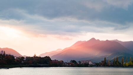 Beautiful scenery of lake Kawaguchi, Japan