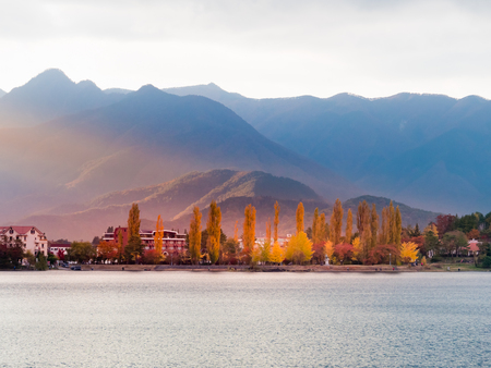 Beautiful scenery of lake Kawaguchi, Japan